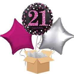 Happy 21st Birthday Pink Balloon Bouquet - Delivered Inflated
