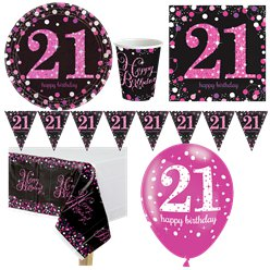Pink Celebration 21st Birthday Party Pack - Deluxe Party Pack For 8