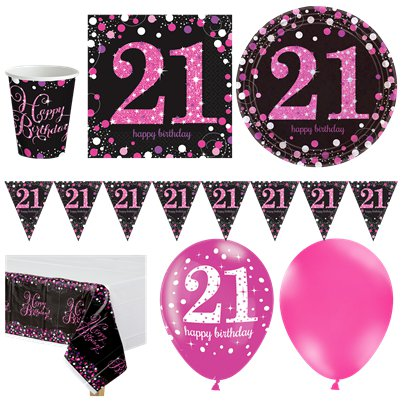 Pink Celebration 21st Birthday Party Pack - Deluxe Party Pack For 16