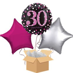 Happy 30th Birthday Pink Balloon Bouquet - Delivered Inflated