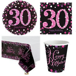 Pink Celebration 30th Birthday Party Pack - Value Pack For 8