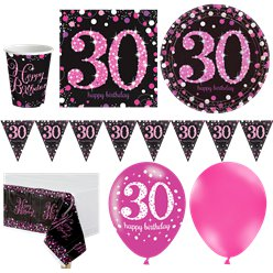 Pink Celebration 30th Birthday Party Pack - Deluxe Party Pack For 16