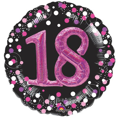 18th Birthday Pink Sparkling Celebration 3D Multi Balloon