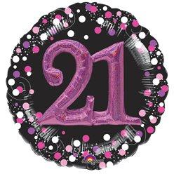 Pink /& Gold Black Striped 21st Birthday Celebrate SuperShape Balloon Decoration