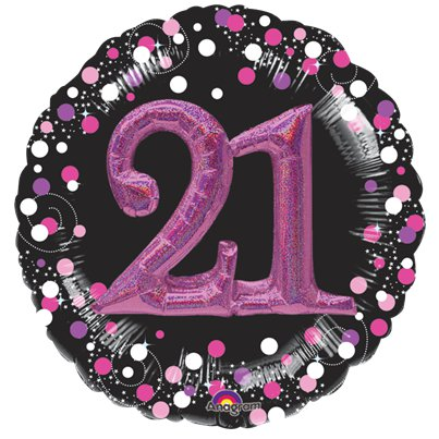"21st Birthday Pink Sparkling Celebration 3D Multi- Balloon - 32"" Foil"