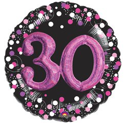 "30th Birthday Pink Sparkling Celebration 3D Multi- Balloon - 32"" Foil"