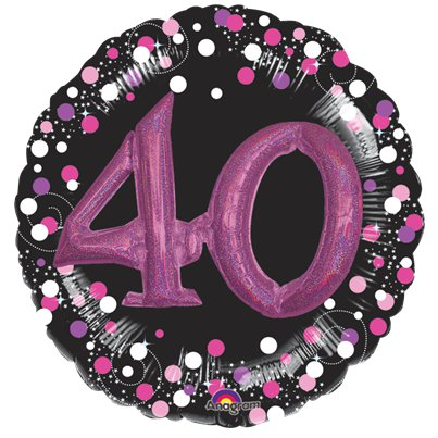 "40th Birthday Pink Sparkling Celebration 3D Multi- Balloon - 32""Foil"