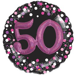 50th Birthday Pink Sparkling Celebration 3D Multi- Balloon - 32