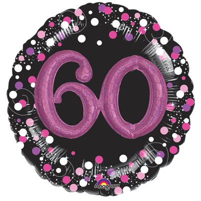 "60th Birthday Pink Sparkling Celebration 3D Multi- Balloon - 36"" Foil"