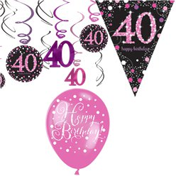 40th Pink Celebration Decorating Kit - Value