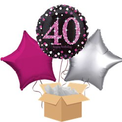 Happy 40th Birthday Pink Balloon Bouquet- Delivered Inflated
