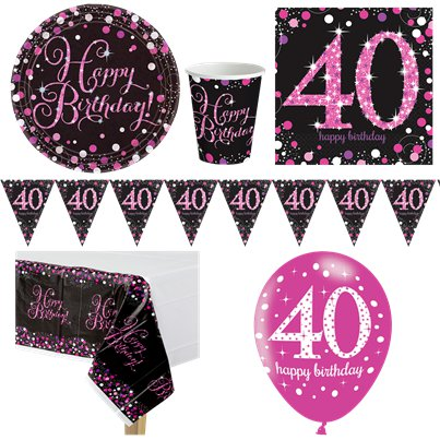 Pink Celebration 40th Birthday Party Pack - Deluxe Party Pack For 8