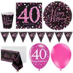 Pink Celebration 40th Birthday Party Pack - Deluxe Party Pack For 16