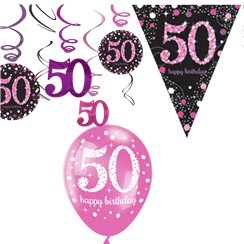 50th Pink Celebration Decorating Kit - Value