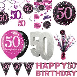 50th Pink Celebration Decorating Kit - Premium