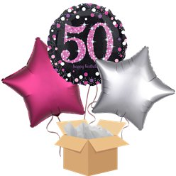 Happy 50th Birthday Pink Balloon Bouquet - Delivered Inflated