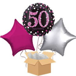 Happy 50th Birthday Pink Balloon Bouquet- Delivered Inflated