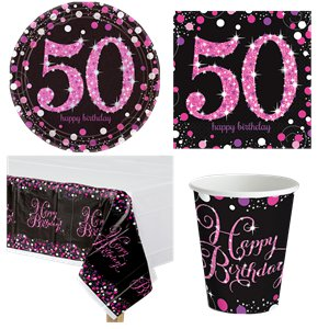 Pink Celebration 50th Birthday Party Pack - Value Pack For 8