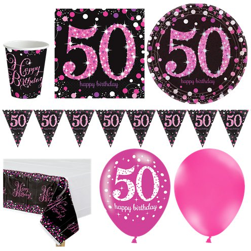 Pink Celebration 50th Birthday Party Pack