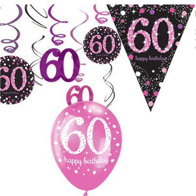 60th Pink Celebration Decorating Kit - Value