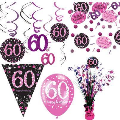 60th Pink Celebration Decorating Kit - Deluxe