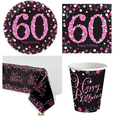 Pink Celebration 60th Birthday Party Pack - Value Pack For 8