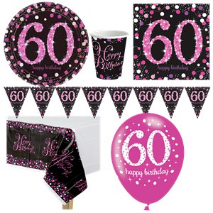 Pink Celebration 60th Birthday Party Pack - Deluxe Party Pack For 8