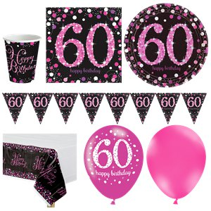 Pink Celebration 60th Birthday Party Pack - Deluxe Party Pack For 16