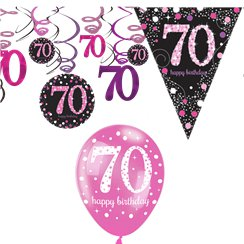 70th Pink Celebration Decorating Kit