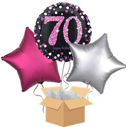 Happy 70th Birthday Pink Balloon Bouquet- Delivered Inflated