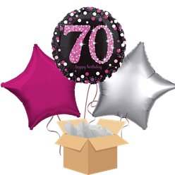 Happy 70th Birthday Pink Balloon Bouquet - Delivered Inflated