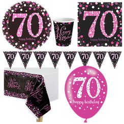 Pink Celebration 70th Birthday Value Party Pack
