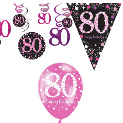 80th Pink Celebration Decorating Kit - Value