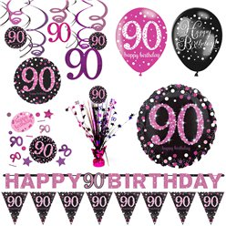 90th Pink Celebration Decorating Kit - Premium