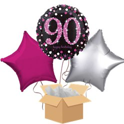 Happy 90th Birthday Pink Balloon Bouquet - Delivered Inflated
