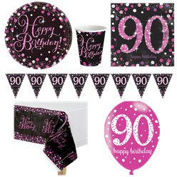 Pink Celebration 90th Birthday Party Pack - Deluxe Pack for 8