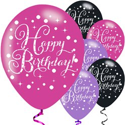 "Happy Birthday Pink Mix Sparkling Celebration Balloons - 11"" Latex"