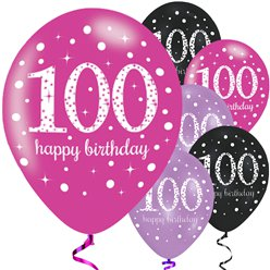"Happy 100th Birthday Pink Mix Sparkling Celebration Balloons - 11"" Latex"
