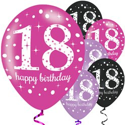 "Happy 18th Birthday Pink Mix Sparkling Celebration Balloons - 11"" Latex"