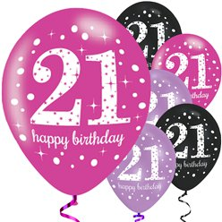 "Happy 21st Birthday Pink Mix Sparkling Celebration Balloons - 11"" Latex"