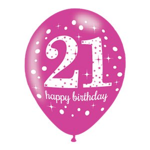 Happy 21st Birthday Pink Mix Sparkling Celebration Balloons - 11