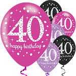 "Happy 40th Birthday Pink Mix Sparkling Celebration Balloons - 11"" Latex"
