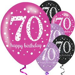 "Happy 70th Birthday Pink Mix Sparkling Celebration Balloons - 11"" Latex"