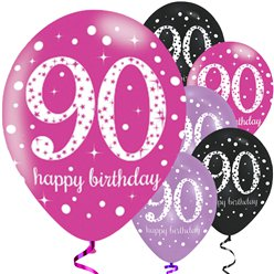 "Happy 90th Birthday Pink Mix Sparkling Celebration Balloons - 11"" Latex"