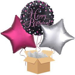 Happy Birthday Pink Balloon Bouquet - Delivered Inflated