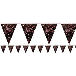 Pink Sparkling Celebration Happy Birthday Bunting - 4m