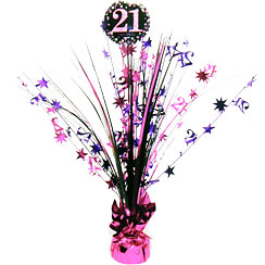 Pink Celebration Age 21 Table Centrepiece - 46cm
