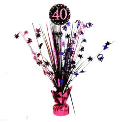 Pink Celebration Age 40 Table Centrepiece - 46cm
