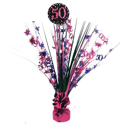 Pink Celebration Age 50 Table Centrepiece - 46cm