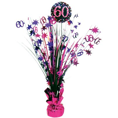 Pink Celebration Age 60 Table Centrepiece - 46cm